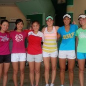 The Japanese and Australian Junior Fed Cup teams enjoyed a practice session in Kuching, Malaysia; Tennis Australia