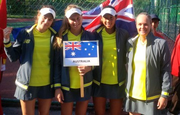 The Australian Junior Fed Cup team of (L-R) Kimberly Birrell, Maddison Inglis, Priscilla Hon and captain Louise Pleming pose at the opening ceremony of the Asia/Oceania qualifying event in Kuching, Malaysia; Tennis Australia