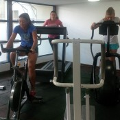 (L-R) Priscilla Hon, Kimberly Birrell and Maddison Inglis hit the gym ahead of the Junior Fed Cup Asia/Oceania qualifying competition in Kuching, Malaysia; Tennis Australia