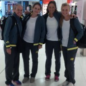 The Australian Junior Fed Cup team of (L-R) captain Louise Pleming, Kimberly Birrell, Priscilla Hon and Maddison Inglish prepare for their trip to Kuching, Malaysia; Tennis Australia