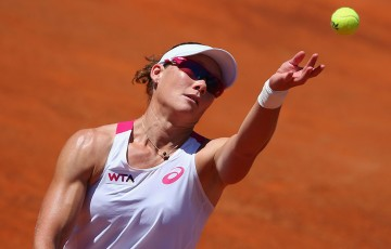 Sam Stosur in action during her third round loss to Li Na at the Internazionali BNL d'Italia in Rome; Getty Images