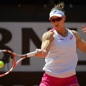 Sam Stosur in action during her second round victory over Elena Vesnina at the Internazionali BNL d'Italia in Rome; Getty Images