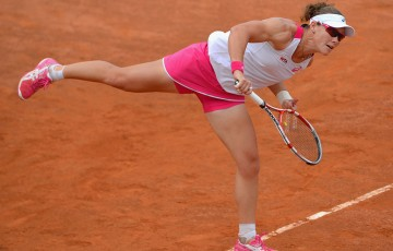 Sam Stosur serves during her first round victory over Sabine Lisicki at the Internazionali BNL d'Italia in Rome, Italy; Getty Images
