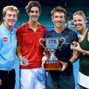 World Tennis Challenge 2014 winners (l to r): Thanasi Kokkinakis, Pat Cash and Nic Bradtke with WTC Tournament Director Mark Woodforde  (far left). Credit: WTC