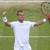 Lleyton Hewitt celebrates a winning point in his five set loss to 15th seed Jerzy Janowicz; Getty Images