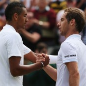 Nick Kyrgios (L) shakes hands with Richard Gasquet after defeating the 13th seed in the second round; Getty Images