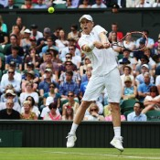 Luke Saville in action on Centre Court during his second round loss to 11th seed Grigor Dimitrov; Getty Images