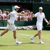 John Peers (L) and Jamie Murray in action during the men's doubles event; Getty Images