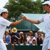 Alex Bolt (L) and Andrew Whittington in action in the men's doubles event; Getty Images