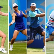 (L-R) Casey Dellacqua, Sam Stosur, Bernard Tomic and Marinko Matosevic will be among the Aussiesin action on Day 1 of Wimbledon; Getty Images
