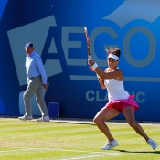 Casey Dellacqua in action during her third round victory over compatriot Sam Stosur at the WTA event in Birmingham, England; Getty Images