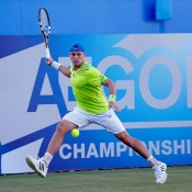 James Duckworth in action during his second round loss to No.2 seed Tomas Berdych at the ATP Queen's Club event in London; Getty Images