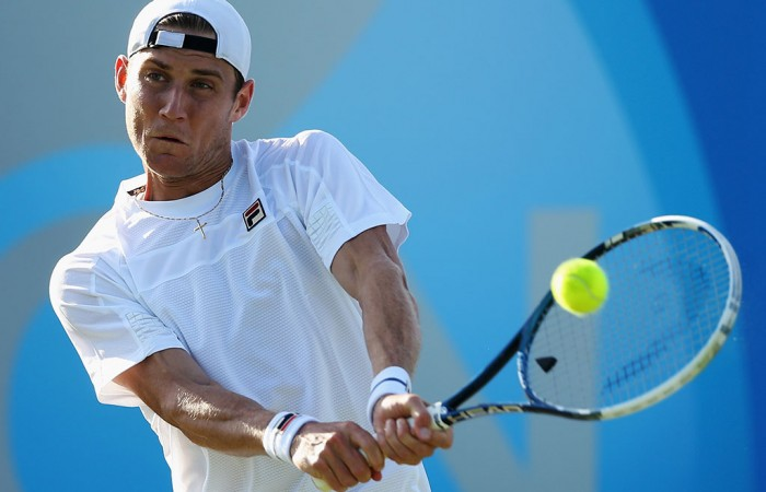 Matt Ebden in action during his first round loss to Lukas Lacko at the ATP Queen's Club event in London; Getty Images