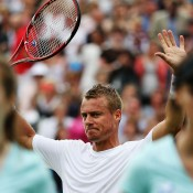 Lleyton Hewitt celebrates his first round victory over Daniel Gimeno-Traver at the ATP Queen's Club event in London; Getty Images