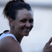 Casey Dellacqua celebrates her third round victory over compatriot Sam Stosur at the WTA event in Birmingham, England; Christopher Levy