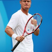 Lleyton Hewitt celebrates a winning point in his first round victory over Daniel Gimeno-Traver at the ATP Queen's Club event in London; Getty Images