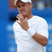 Lleyton Hewitt shows his frustration during a second round loss to Feliciano Lopez at the ATP Queen's Club event in London; Getty Images