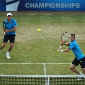 Aussie John Peers (L) and Scot Jamie Murray in action en route to victory over Bob and Mike Bryan in the doubles event at the ATP Queen's Club tournament; Getty Images