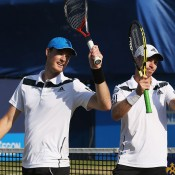 Aussie John Peers (R) and Scot jamie Murray celebrate progressing to the ATP Queen's Club doubles semifinals after victory over Kevin Anderson and Jonathan Erlich; Getty Images