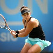 Casey Dellacqua plays a backhand en route to a 6-1 6-0 demolition of Japanese veteran Kimiko Date-Krumm in the quarterfinals on the WTA AEGON Classic in Birmingham; Getty Images