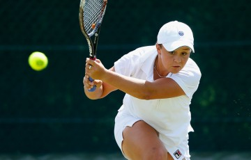 Ash Barty in action during her first round victory over Turkey's Cagla Buyukakcay in the Wimbledon qualifying event at Roehampton, London; Getty Images