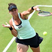 Casey Dellacqua in action during her semifinal loss to Barbora Zahlavova Strycova at the WTA AEGON Classic in Birmingham; Getty Images