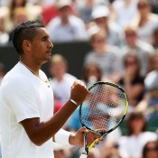 Nick Kyrgios celebrates during his second round win against 13 seed Richard Gasquet of France at Wimbledon; Getty Images