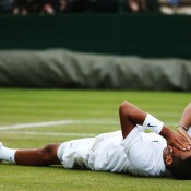 Nick Kyrgios celebrates his third round win over Jiri Vesely on Court 17 at Wimbledon; Getty Images