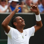 Nick Kyrgios celebrates his stunning victory over 13th seed Richard Gasquet in the third round at Wimbledon; Getty Images