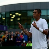 Nick Kyrgios celebrates his third round victory over Jiri Vesely at Wimbledon; Getty Images