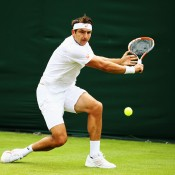 Marinko Matosevic plays a backhand en route to an upset victory over 18th seed Fernando Verdasco in the first round at the 2014 Wimbledon Championships; Getty Images