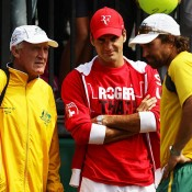 Tony Roche, Roger Federer and Pat Rafter, Davis Cup, Sydney, 2011. GETTY IMAGES