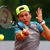 Akira Santillan in action during the junior event at Roland Garros 2014; Getty Images