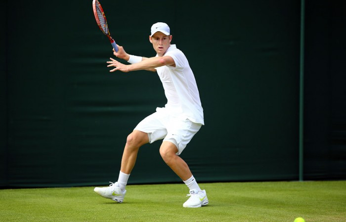 Luke Saville in action during his first round victory over Dominic Thiem of Austria at Wimbledon; Getty Images