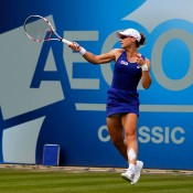 Sam Stosur plays a forehand en route to her second round victory over Christina McHale at the AEGON Classic Birmingham; Getty Images