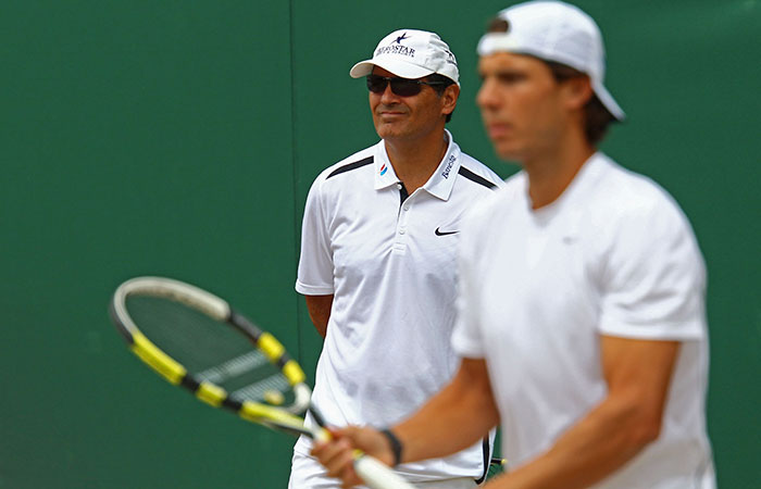 Toni Nadal (left) and Rafael Nadal, Wimbledon, 2011. GETTY IMAGES