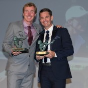 Mark Woodforde (L) and Todd Woodbridge pose with their Philippe Chatrier awards at the ITF World Champions Dinner in Paris on Tuesday 3 June 2014; Elizabeth Xue Bai
