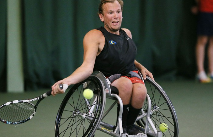 Dylan Alcott in action during the British Open Wheelchair Tennis Championships; LTA