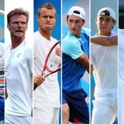 (L-R) Marinko Matosevic, Sam Groth, Lleyton Hewitt, Bernard Tomic, Matt Ebden and Nick Kyrgios form a contingent of six Aussies ranked inside the world's top 100; Getty Images
