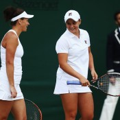 Casey Dellacqua (L) and Ash Barty in action during their second-round victory over Barbora Zahlavova Strycova and Kimiko Date-Krumm in the ladies' doubles event at Wimbledon; Getty Images