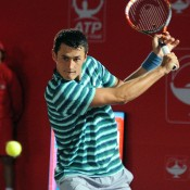 Bernard Tomic in action during his second round victory over fifth seed Alejandro Falla at the ATP event in Bogota; Claro Open Colombia