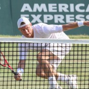 Lleyton Hewitt in action during his first round victory over Ryan Harrison at the ATP event in Newport, Rhode Island; International Tennis Hall of Fame
