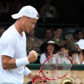 Lleyton Hewitt in action during his second round win over Ante Pavic of Croatia at the ATP event in Newport, Rhode Island; International Tennis Hall of Fame & Museum