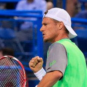 Lleyton Hewitt celebrates a winning point during his second round victory over fellow Australian Marinko Matosevic at the ATP Citi Open in Washington DC, United States; Getty Images