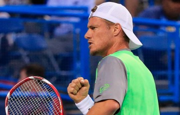 Lleyton Hewitt celebrates a winning point during his second round victory over fellow Australian Marinko Matosevic at the 2014 ATP Citi Open in Washington DC, United States; Getty Images