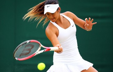 Priscilla Hon in action during the girls' singles event at Wimbledon; Getty Images