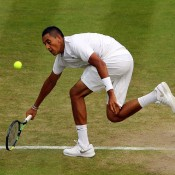 Nick Kyrgios in action against Milos Raonic in the Wimbledon quarterfinals; Getty Images