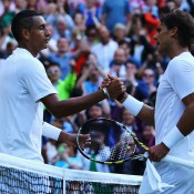 Nick Kyrgios (L) shakes hands with Rafael Nadal after winning their fourth round match at Wimbledon; Getty Images