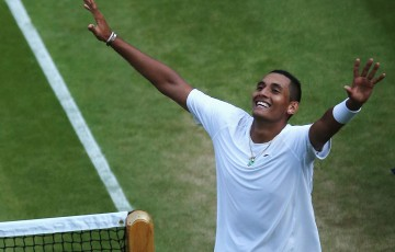 Nick Kyrgios celebrates his stunning victory over World No.1 Rafael Nadal on Centre Court at Wimbledon; Getty Images