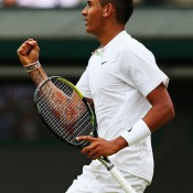 Nick Kyrgios celebrates a winning point during his quarterfinal at Wimbledon against Milos Raonic; Getty Images